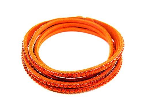 Orange-nappa Leder (Styleziel Armband Lederarmband Wickelarmband mit Druckverschluss Orange besetzt mit funkelnden kleinen Kristallen 38 cm 2106)