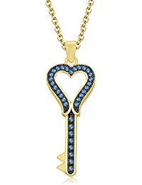 "Silvernshine 1.35 Ct Aquamarine Heart Key Pendant 18"" Chain Necklace In 14K Yellow Gold Fn"