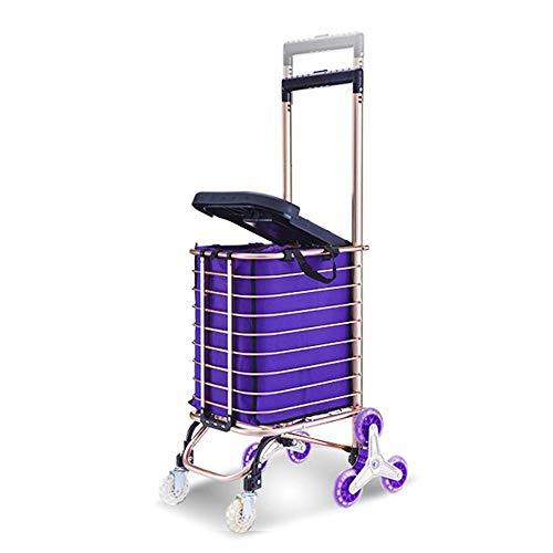 HANHJ Treppensteigen Einkaufswagen Mit 8 Rädern Sitz 30L Kapazität Tasche Leichte Aluminiumlegierung Korb Markt Lebensmittel Warenkorb Verstellbarer Griff , Rose Gold,Metallic -