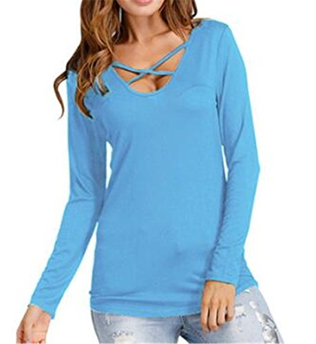 AILIENT Donna Camicetta Maglietta T-Shirt Maglia Blusa Manica Lunga Sexy Ufficio Collo V Stampa Floreale Camicia Sky Blue