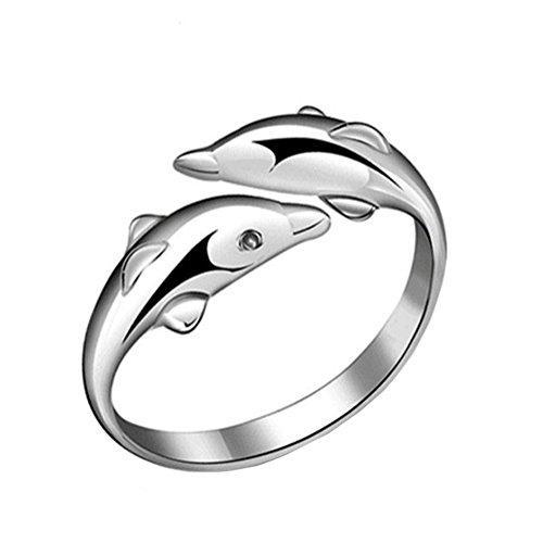 jingyuu Doppel-Delfin-Ring-Anhänger für Frauen und Mädchen