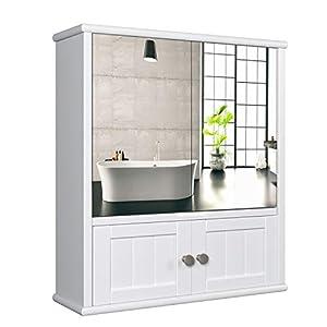 HOMECHO Spiegelschrank Badschrank mit Spiegel Bad Hängeschrank mit Ablage Schminkschrank aus Holz Badspiegelschrank…