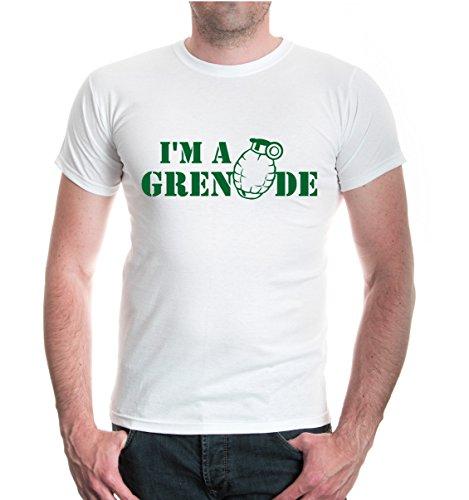 buXsbaum® T-Shirt I m a grenade White-Bottlegreen