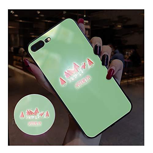 BJZP Hülle für iPhone X/XS, iPhone XS MAX Fällen LED Logo Licht iPhone Fall leuchtende leuchten Sommer Logo Fall beleuchten Abdeckung gehärtetes Glas Rückseite Schutzhülle,D,iPhone6/6S (Bling Iphone6 Fällen)