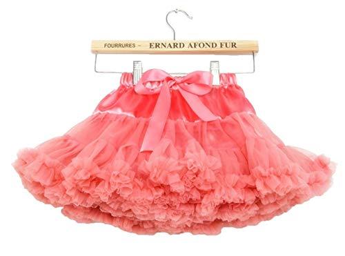 Little Girls '3 Schichten Falten Tüll Ballettröckchen Prinzessin Ballett Kleid 5-7 Jahre / M, Coral rot