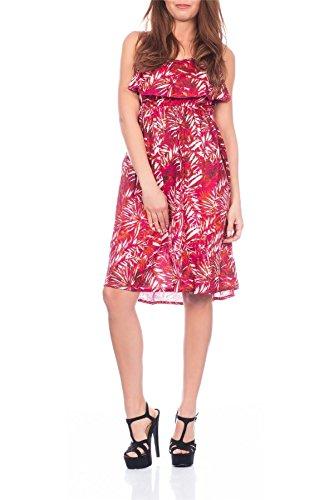 Plissiertes Damenkleid mit einstellbaren Trägern und Blumen-Sommer-Aufdruck von Pistachio, rot, violett, blau Rouge