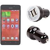 DURAGADGET Adaptador Mechero Coche Para Huawei Y635 / Y360 / C199S // Ascend G620S / D8 / Y530 / Y550 / Holly - Con Doble Puerto USB