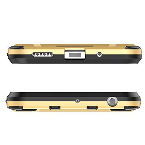 P10 Hülle,EVERGREENBUYING Abnehmbare Hybrid Schein VTR-AL00 Tasche Ultra-dünne Schutzhülle Case Cover mit Ständer Etui für Huawei Ascend P10 / P10 Li Blau Gold