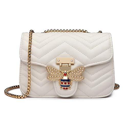 Kette Umhängetaschen für Frauen Handtaschen Frauen Taschen Messenger Leder Handtasche Small White -