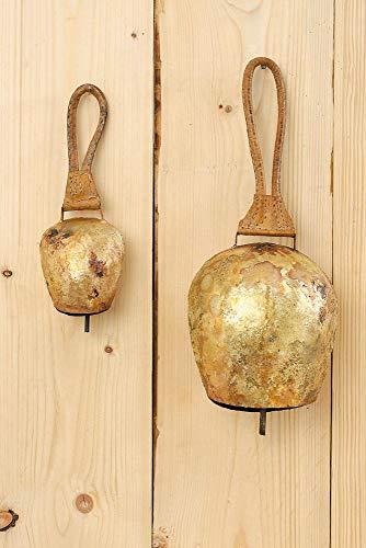 cke in antikgold aus Metall, mit braunem Riemen, 1 Stück, ca. 9 cm x 6 cm x 25 cm ()