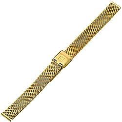 Uhrenarmband 12mm Edelstahl - Mesh / Milanaise - Metall gold, IPG vergoldet - geflochtenes Metallband aus Edelstahl für Uhren - Raster-Schließe - Uhrenarmbänder von Marburger seit 1945