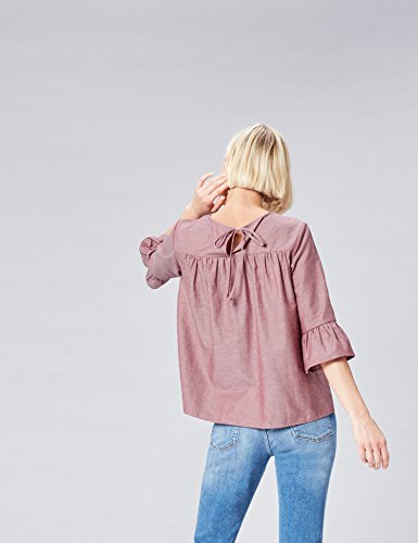 FIND Damen Bluse mit Rüschen aus Chambray Rot (Red Chambray)