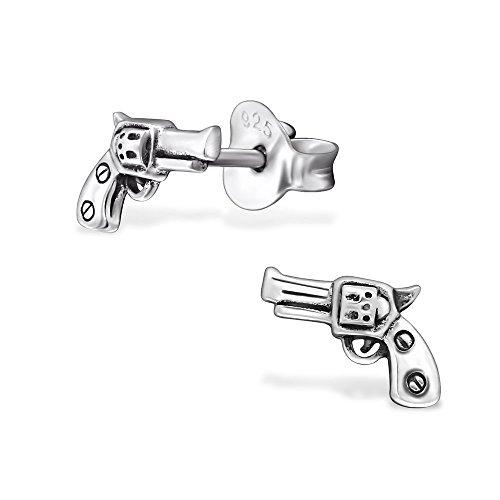 Laimons Damen-Ohrstecker Damenschmuck Revolver Pistole oxidiert Sterling Silber 925