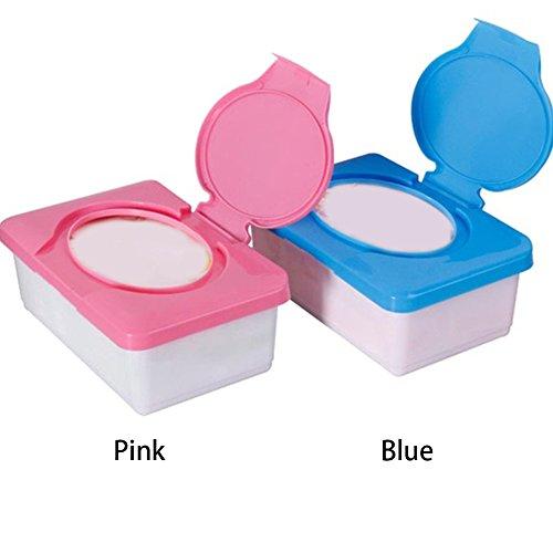Feuchttücher-Box, tragbar, Kunststoff, mit Gewebe, Kunststoff, mit Spender Becher mit Fall Windel, Organizer, Blau