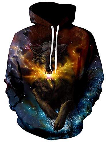 Rave on Friday Unisex 3D Hoodies Galaxy Wolf Drucken Kapuzenpullover für Herren Novelty Langarm Sweatshirt Damen Cool Pullover L-XL