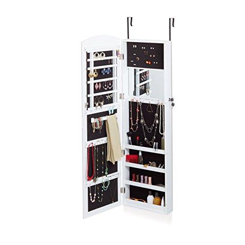 Relaxdays-Armario-para-joyas-con-espejo-colgante-armario-con-espejo-para-puerta-Guardar-Pendientes-dimensiones-124-x-365-x-10-cm-color-blanco