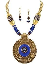 Zephyrr Jewellery Tibetan Handmade Beaded Pendant Necklace Earrings Set For Women And Girls