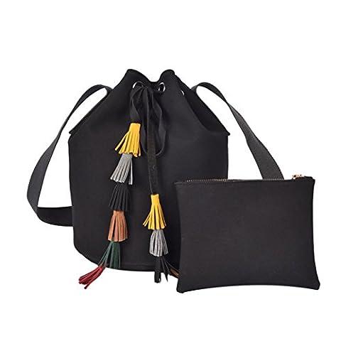 Bluester Women Fashion Tassel Lady Leather Handbag Shoulder Bag, Messenger Bucket Bag (Black)