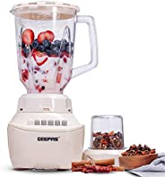 Geepas GSB5409 250W 2 in 1 Multifunctional Blender | Stainless Steel Blades, 4 Speed Control with Pulse | 1.5L
