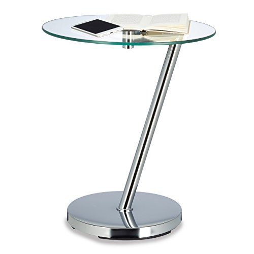 Relaxdays Table d'appoint ronde verre clair table café console table basse HxlxP: 52 x 45 x 45 cm, argenté