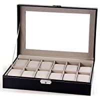 12 Grids Watch Jewelry Collection Storage PU Leather Display Case Watch Box Organizer - Black
