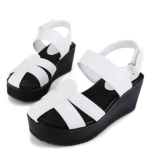 TAOFFEN Femmes Gladiateur Wedge Sandales Talons Moyen Plateforme Ete Chaussures De Boucle Blanc