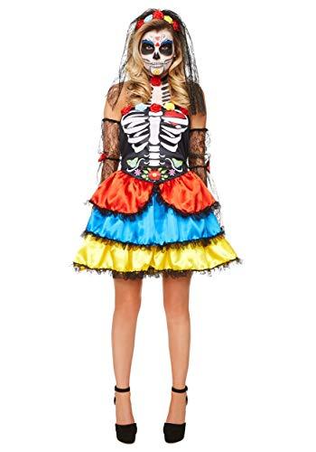 Karnival Costumes- Halloween Day of The Dead Senorita Disfraz, Multicolor, large (84184)