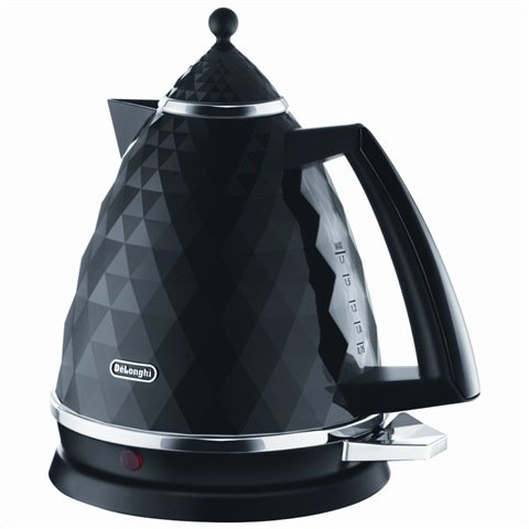 Delonghi KJB3001.BK Brillante Cordless Jug Kettle 3 Kw 1.7 Litre capacity Thermal cut off auto shut off when water begins to boil auto shut off when body is lifted Concealed element 360º Rotational base - Black by De'Longhi