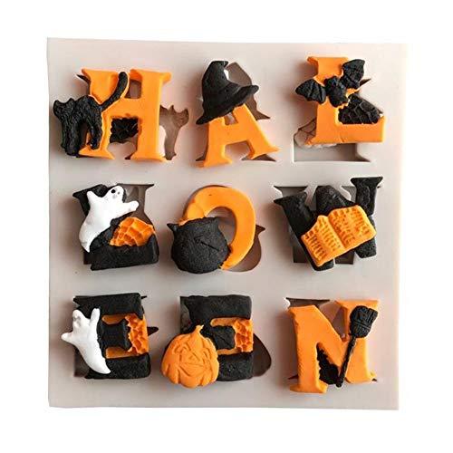 Makwes 1 Stück Halloween Letter Ghost Cat Pumpkin Silicone Fondant Mold Cake Sugarcraft Decor,Ausstechformen,Kuchenbehälter Plätzchenform,Fruchtform,Schokoladenform,Geburtstag,Party,Weihnachten