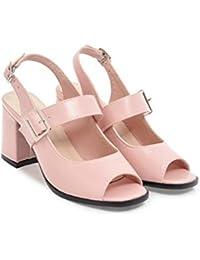 WEIQI-Sandales Femme/Boucle en Métal/Confort/PU, 4cm, 34-41, Blanc, 40