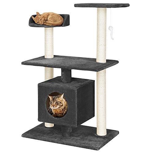[en.casa] Katzen Kratzbaum (ca. 60 x 40 x 95 cm)(grau) Kuschelhöhlen / Aussichtsplatformen / Sisal / mit vielen Spiel – und Kuschelmöglichkeiten - 5