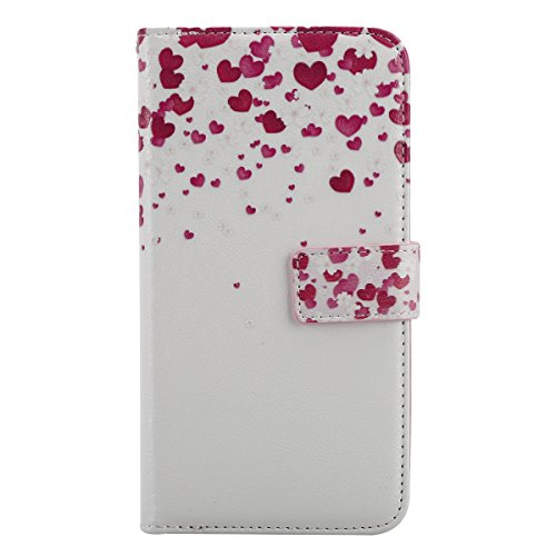 Cover iPhone 5 Pelle, Custodia iPhone 5S a Libro, Case iPhone SE, Flip Portafoglio Cover in PU + Bumper Custodia in Silicone Morbido, Surakey Elegante Full Body Protezione Posteriore iPhone 5 Custodia Amore Cuore Rosa