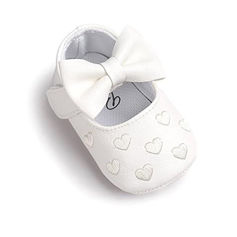Mädchen Schuhe Süß mit schönem Bogen PU-Leder Mokassins gestickte Herz und weicher rutschfester Sohle für Babys 6-12
