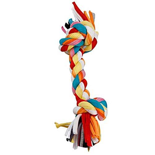 F-blue Baumwolle Doppel-Knoten geflochtenen Seil Bunte Knochen Tug Hund Kauen Spielzeug Pet Woven Molar Zubehör -
