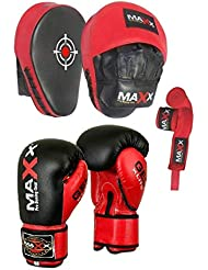 MAXX Curved Focus pads, Hook & Jab Pads with Gloves & FREE hand wraps Martial Arts (