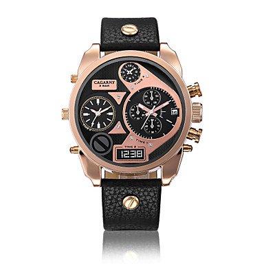 Fenkoo Herren Armbanduhr Quartz LED / Drei-Zeit-Zonen Leder Band Schwarz / Weiß / Braun Marke-