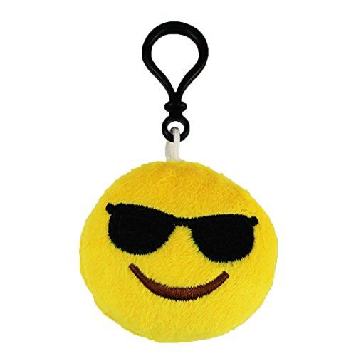 Emoji Schlüsselanhänger COOL Smiley aus Plüsch Smiling Face with Sunglasses Gesicht mit Sonnenbrille hochwertiger Emoticon Anhänger mit Schlaufe und Karabiner-Haken von wortek
