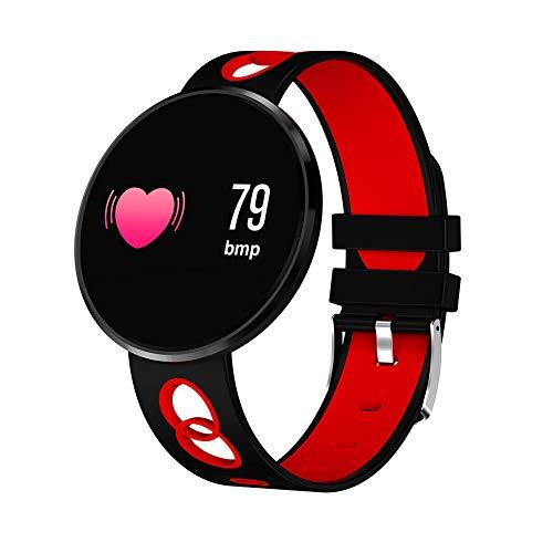 Sauerstoff Sammlung (WATCH GYQ@ Farbdisplay Smart Armband Runde Bildschirm Herzfrequenz Blutdruck Sauerstoff Sauerstoff Schlaf Bluetooth Sportuhr,Red)