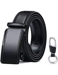 flintronic Cintura a cricchetto in pelle da uomo, fibbia Automatica Cintura pelle 3.5cm * 130cm, con Portachiavi e Confezione Regalo
