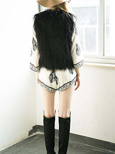 Simplee Apparel Damen Winter Elegant Warm Ärmellos Fell Weste Kunstfell Schwarz Weiß Beige Schwarz