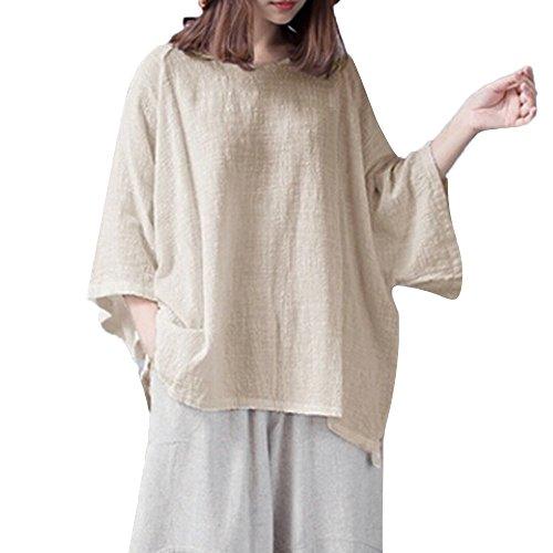 (TEBAISE Daman Baumwoll Leinen Kurzarm Blusen Tunika T-Shirt Casual Loose Tops Shirts Sommer Fledermaus Hemd Lässig locker Top Dünnschnitt Bluse T-Shirt)