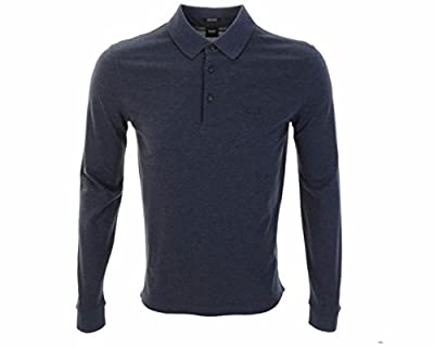 Hugo Boss Black 50272142 017 PADERNA 10 Long Sleeve Polo Shirt Denim Blue