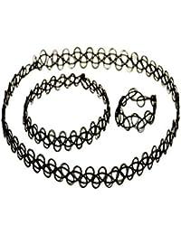 Black Vintage Stretch Tattoo Henna Choker Hippy Necklace Bracelet & Ring Set