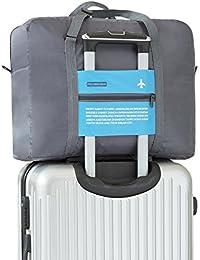 Ultra ligero 32L viaje tamaño grande bolsillo plegable bolsa de equipaje ropa de almacenamiento de llevar bolsa de lona con cremallera, color: azul