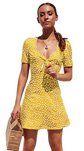 Vestido De Cóctel Lunares Sin Mangas con Cuello en V Elegantes Vintage Verano Lápiz Vestidos De Fiesta Mujer Cortos Amarillo S
