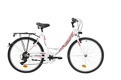 F.lli Schiano Elegance Bicicleta Urbana, Women\'s, Blanco-Rojo, 26\'\'