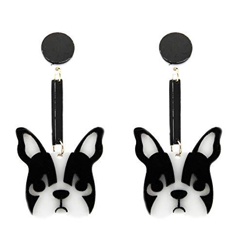 Ohrring Dog long, silber/schwarz/weiß I Ohrringe für Damen & Mädchen I Ohr Schmuck-Set für Frauen I ausgefallene Ohrhänger I modische Designer-Accessoires von sweet deluxe