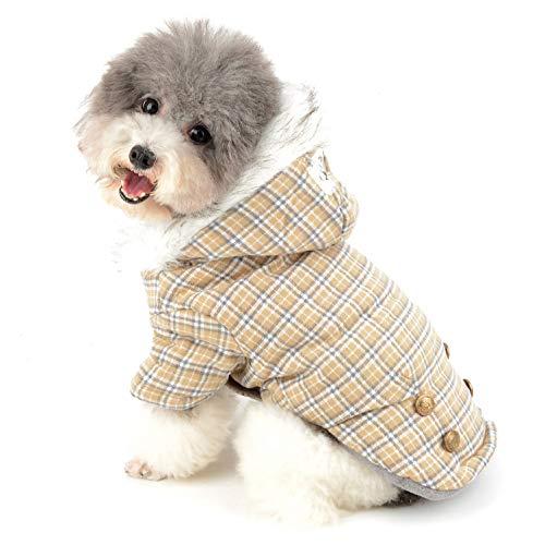Ranphy Plaid Hundemantel für Kleine Hunde Hundejacke Winterjacken Wintermantel Hunde Mantel Winter Herbst Fleece Welpenmantel Yorkshire Terrier Haustier Kleidung Katze Bekleidung M