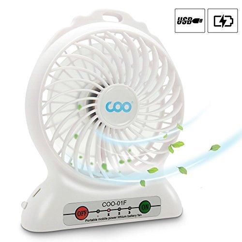 Mini Ventilador USB, COO Mini USB Ventilador de Mesa Recargable con Luz...