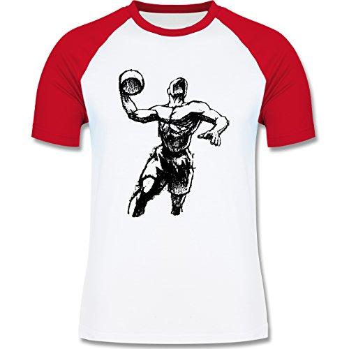 Basketball - Basketball Sprungwurf - zweifarbiges Baseballshirt für Männer Weiß/Rot